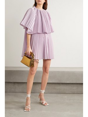pushBUTTON layered pleated checked cotton-blend poplin mini dress