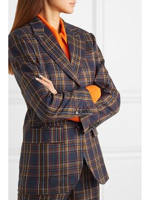 pushBUTTON paneled faux leather and checked twill blazer