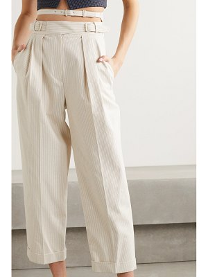 pushBUTTON pinstriped pleated cutout cotton-blend tapered pants