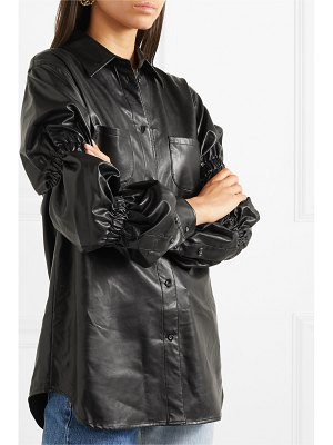 pushBUTTON ruched faux leather shirt
