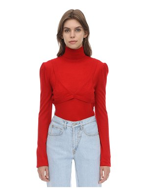 pushBUTTON Wool blend knit sweater w/ bra