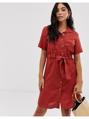 QED London button through shirt dress with tie belt-red