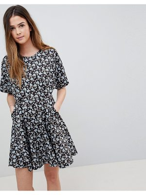 QED London Floral Skater Dress With Cutout Detail