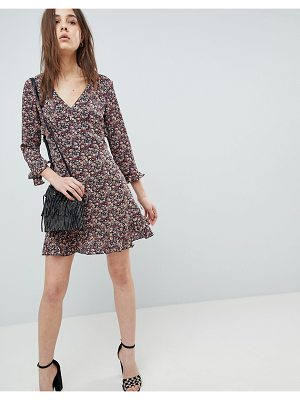 QED London Floral Skater Dress With Frill Detail