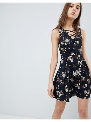 QED London Floral Skater Dress With Lace Up Detail