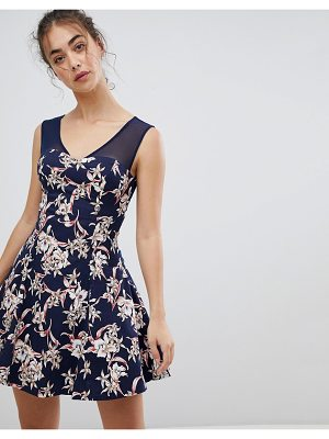 QED London Floral Skater Dress With Mesh Detail