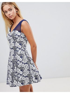 QED London Floral Skater Dress With Mesh Insert