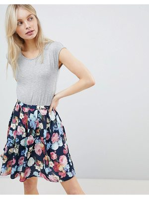 QED London Floral Skirt Detail Skater Dress