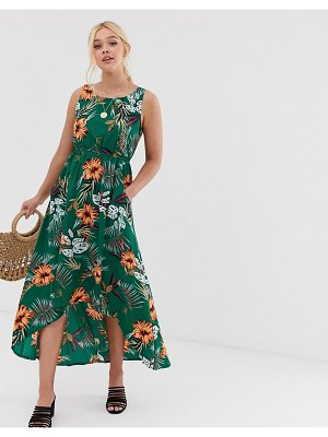 QED London high low midi dress in tropical floral print-green