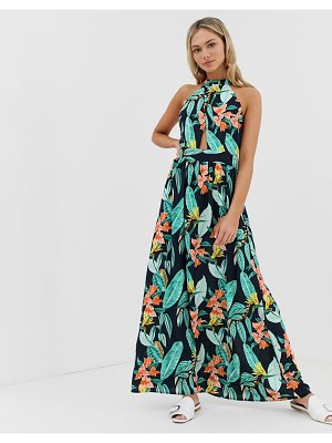 QED London high neck tie back maxi dress in floral print-multi