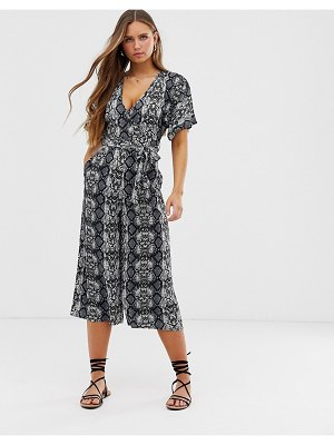 QED London printed wrap front jumpsuit-multi