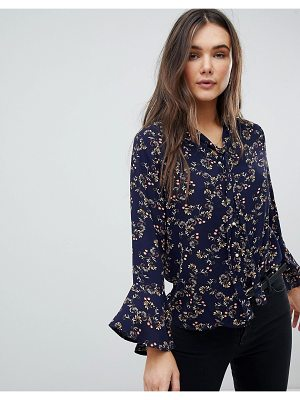 QED London Pussy Bow Floral Blouse