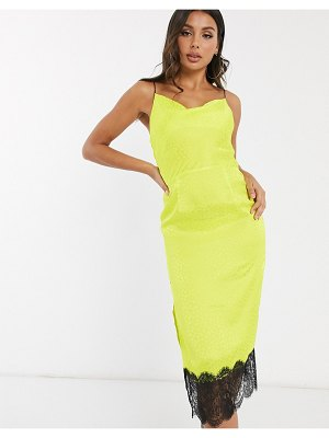 QED London satin jacquard cowl neck midi dress with lace hem in lime-green