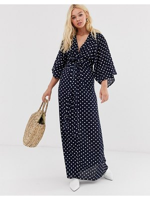 QED London tie front maxi dress in polka dot dress-navy