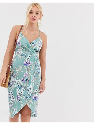 QED London wrap front slip dress in mint floral-green