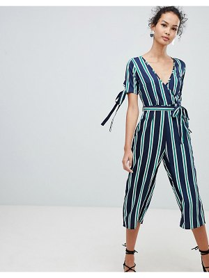 QED London wrap front tie sleeve jumpsuit in stripe print