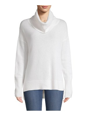 Qi Cashmere Cowlneck Cashmere High-Low Sweater