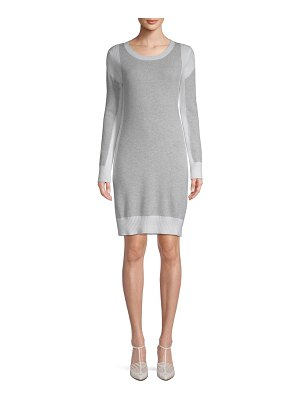 Qi New York Cashmere Ribbed Sweater Dress
