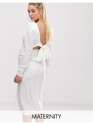 Queen Bee long sleeve midi dress with open back in white