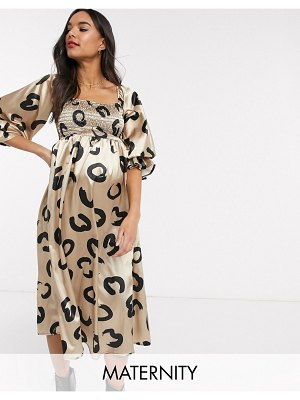 Queen Bee off shoulder bell sleeve shirred bust midi dress in squiggle heart print-multi