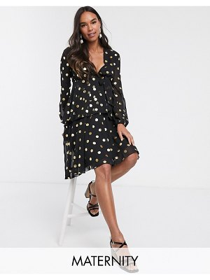 Queen Bee plunge front skater dress in contrast in polka print-multi