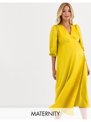 Queen Bee satin wrap front bell sleeve midi dress in gold-yellow