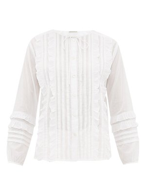 QUEENE AND BELLE ashley ruffled and pleated cotton blouse