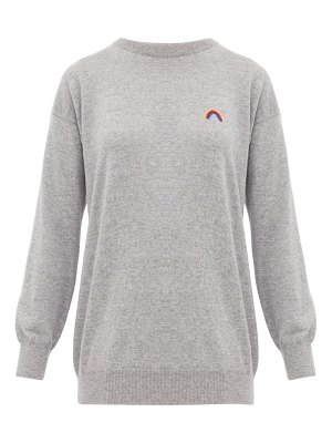 QUEENE AND BELLE rainbow-embroidered cashmere sweater