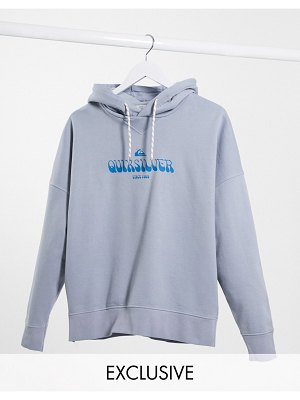 Quiksilver boxy fleeced hoodie in washed blue exclusive at asos-blues