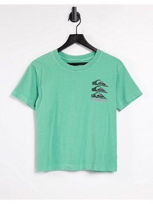 Quiksilver colorful land cropped t-shirt in green