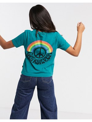 Quiksilver og cropped peace sign t-shirt in teal-green