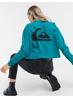 Quiksilver screen-print long sleeved graphic t-shirt in teal-green