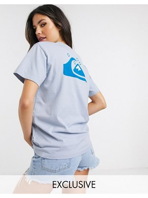 Quiksilver standard back print t-shirt in blue exclusive at asos