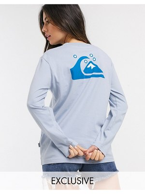 Quiksilver standard long sleeved t-shirt in blue exclusive at asos