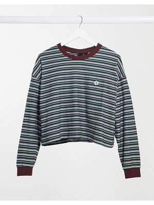 Quiksilver stripes extra long sleeved t-shirt in navy