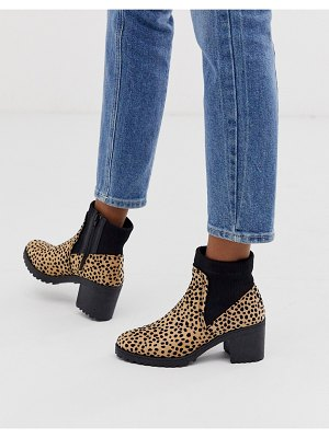 QUPID heeled boot in leopard-multi