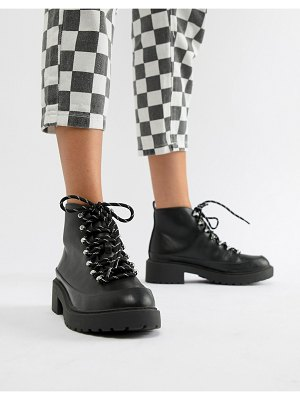 QUPID hiker chunky ankle boots-black