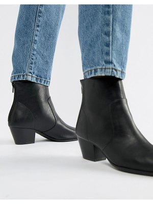 QUPID pointed western ankle boots-black