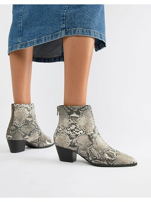 QUPID pointed snake western ankle boots-multi
