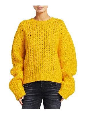 R13 aran cropped wool cable knit sweater