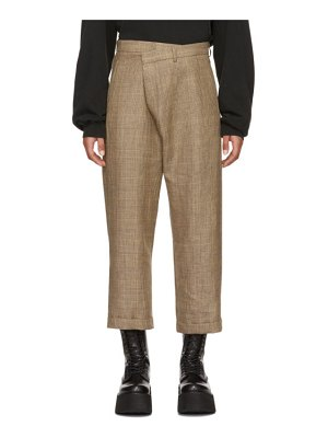 R13 brown check crossover trousers