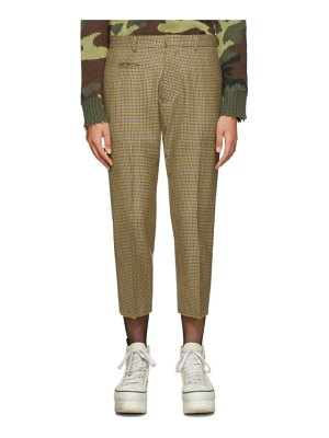 R13 brown tailored drop trousers