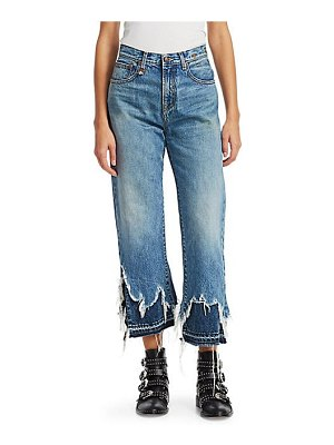 R13 camille high-rise double shredded hem ankle jeans