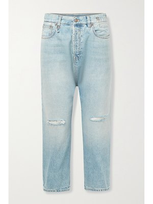 R13 cropped distressed straight-leg jeans