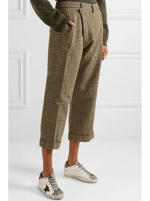 R13 cropped prince of wales checked wool straight-leg pants