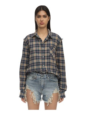 R13 Distressed cotton flannel shirt