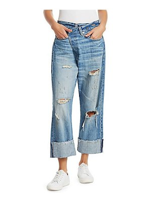 R13 distressed crossover jeans