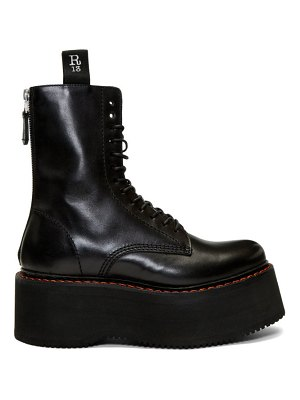 R13 double stacked platform lace-up boots