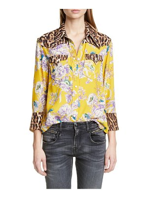 R13 exaggerated collar mixed print cowboy shirt