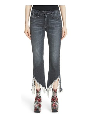 R13 frayed kick fit jeans